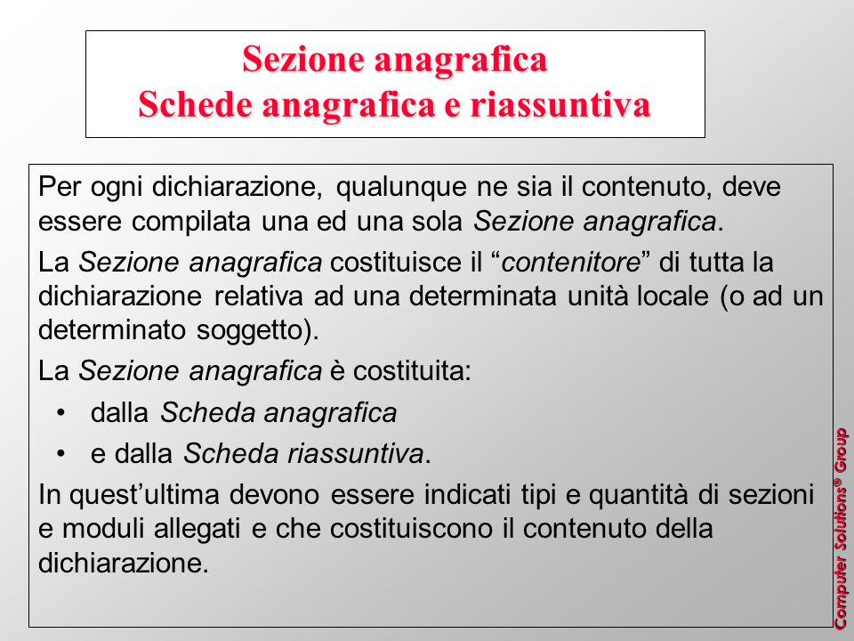 Sezione anagrafica Schede anagrafica e riassuntiva