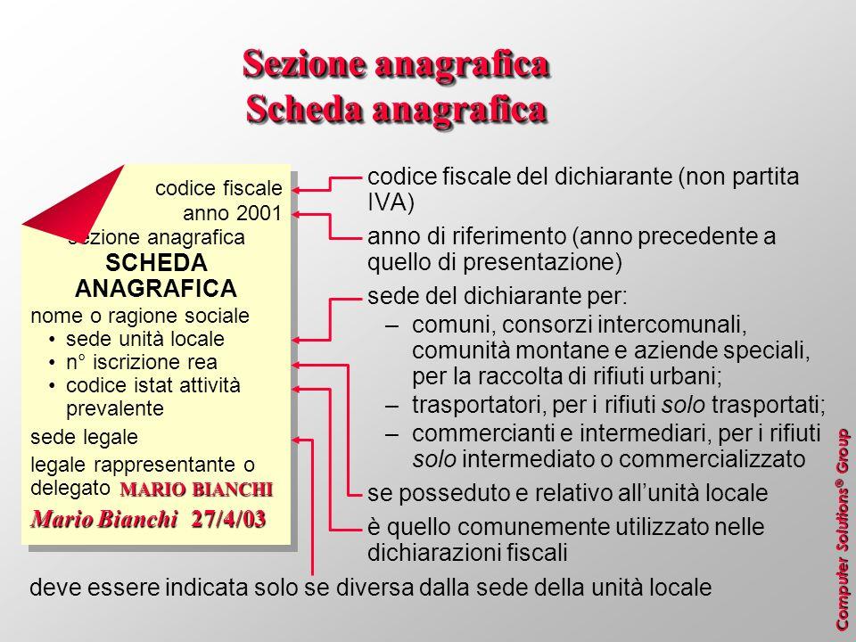 Sezione anagrafica Scheda anagrafica