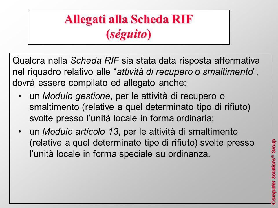 Allegati alla Scheda RIF (séguito)