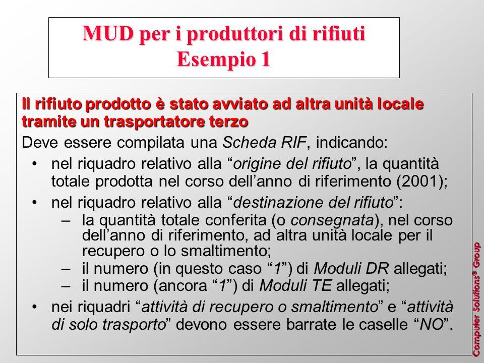 MUD per i produttori di rifiuti Esempio 1