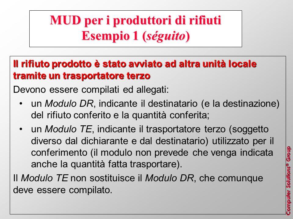 MUD per i produttori di rifiuti Esempio 1 (séguito)