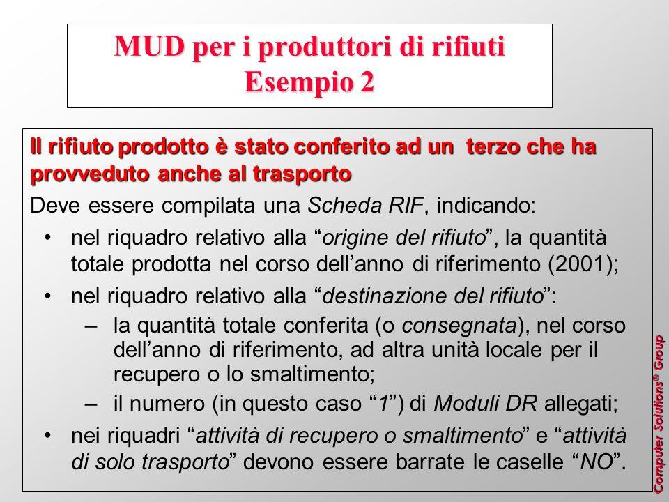 MUD per i produttori di rifiuti Esempio 2