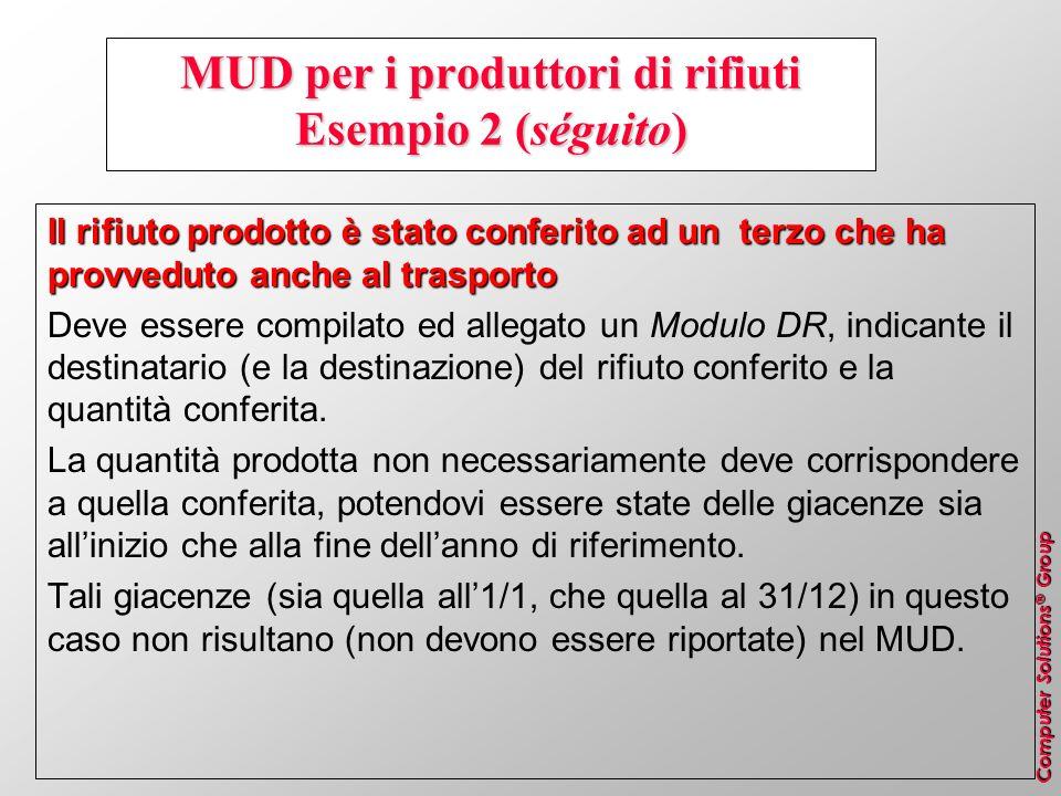 MUD per i produttori di rifiuti Esempio 2 (séguito)