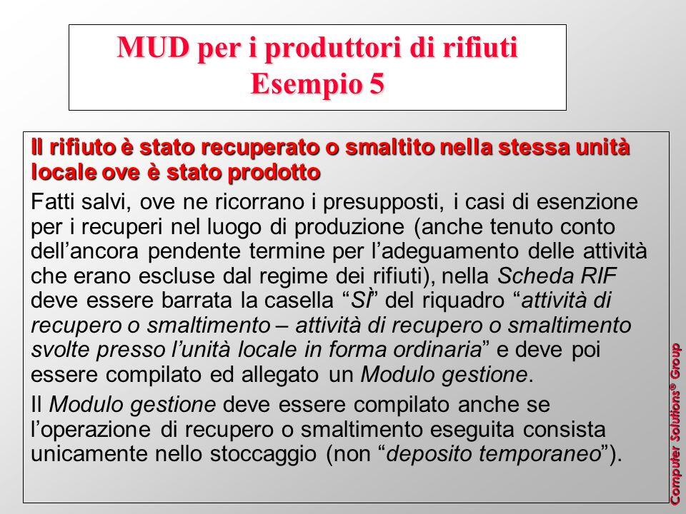 MUD per i produttori di rifiuti Esempio 5