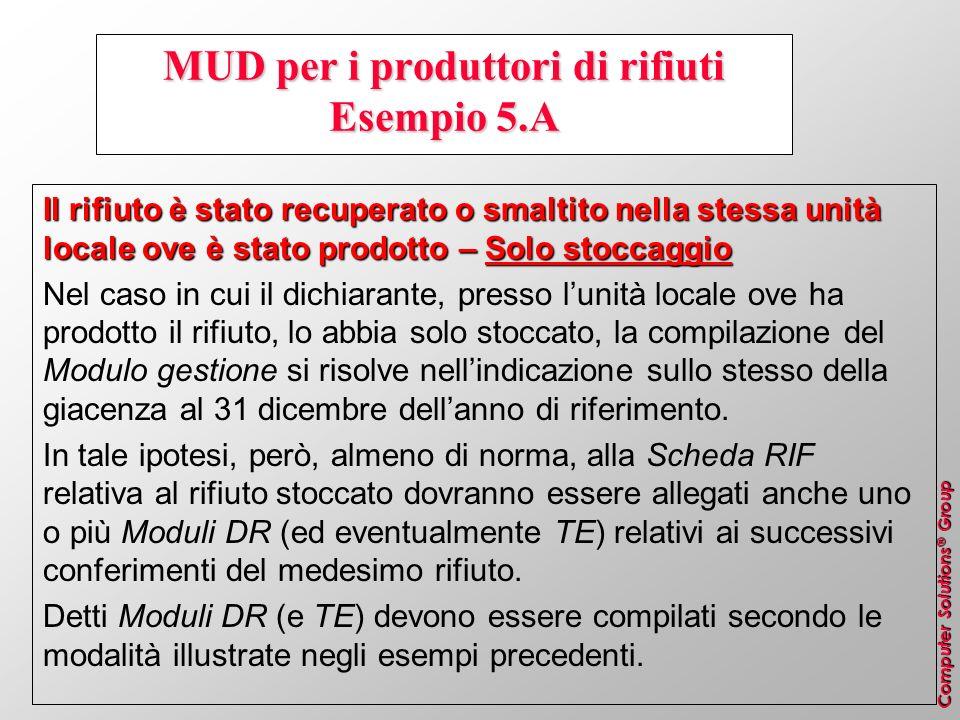 MUD per i produttori di rifiuti Esempio 5.A