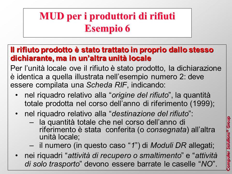 MUD per i produttori di rifiuti Esempio 6
