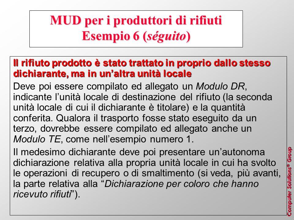 MUD per i produttori di rifiuti Esempio 6 (séguito)