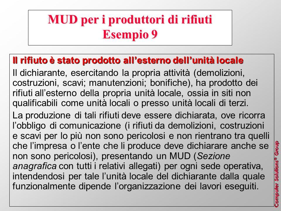 MUD per i produttori di rifiuti Esempio 9
