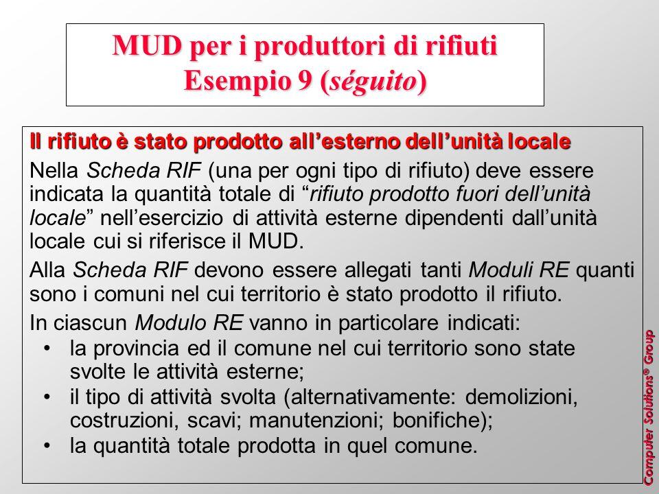 MUD per i produttori di rifiuti Esempio 9 (séguito)