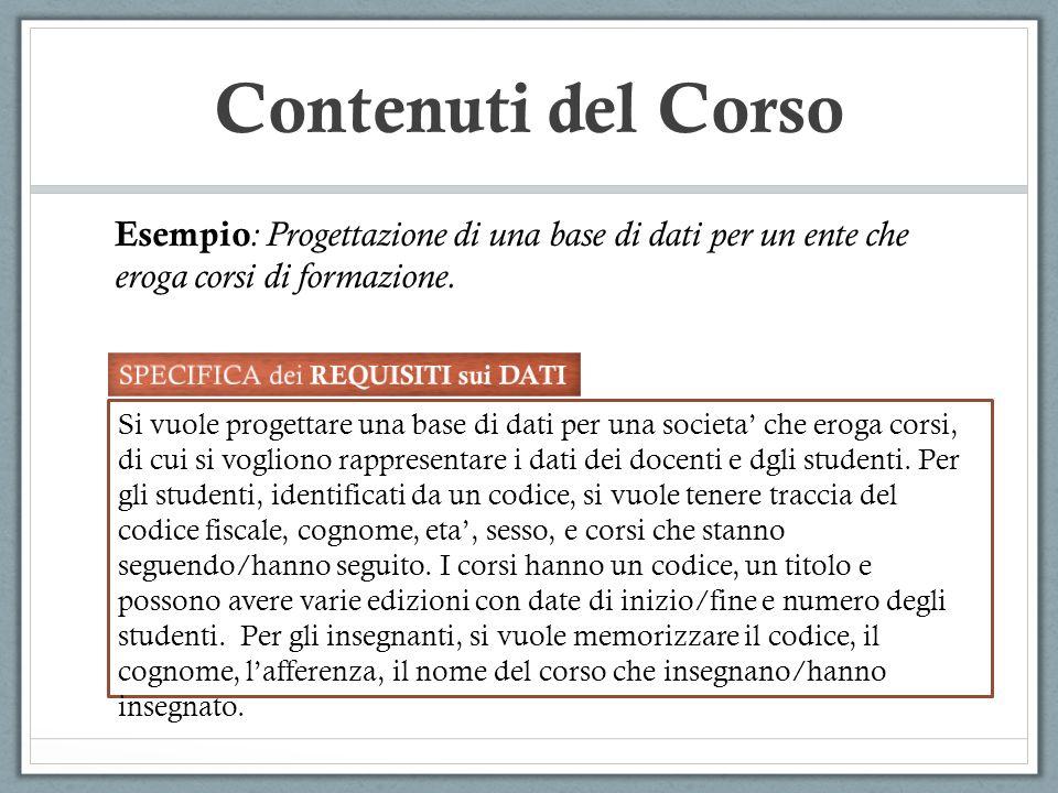 Contenuti del Corso Esempio: Progettazione di una base di dati per un ente che eroga corsi di formazione.