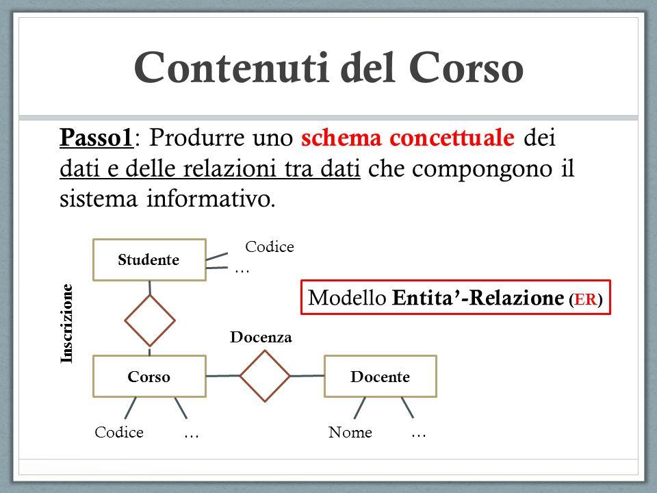 Contenuti del Corso Passo1: Produrre uno schema concettuale dei dati e delle relazioni tra dati che compongono il sistema informativo.