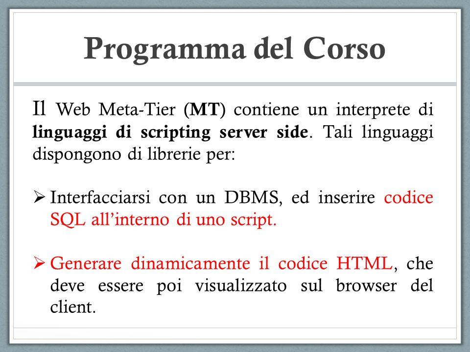 Programma del Corso Il Web Meta-Tier (MT) contiene un interprete di linguaggi di scripting server side. Tali linguaggi dispongono di librerie per: