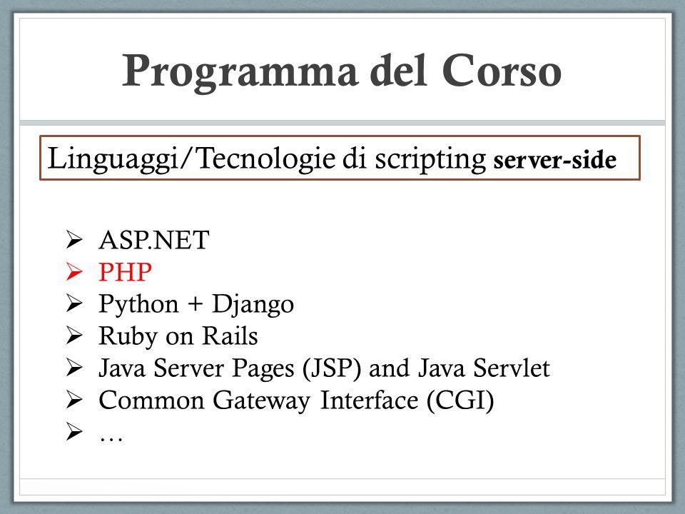 Programma del Corso Linguaggi/Tecnologie di scripting server-side