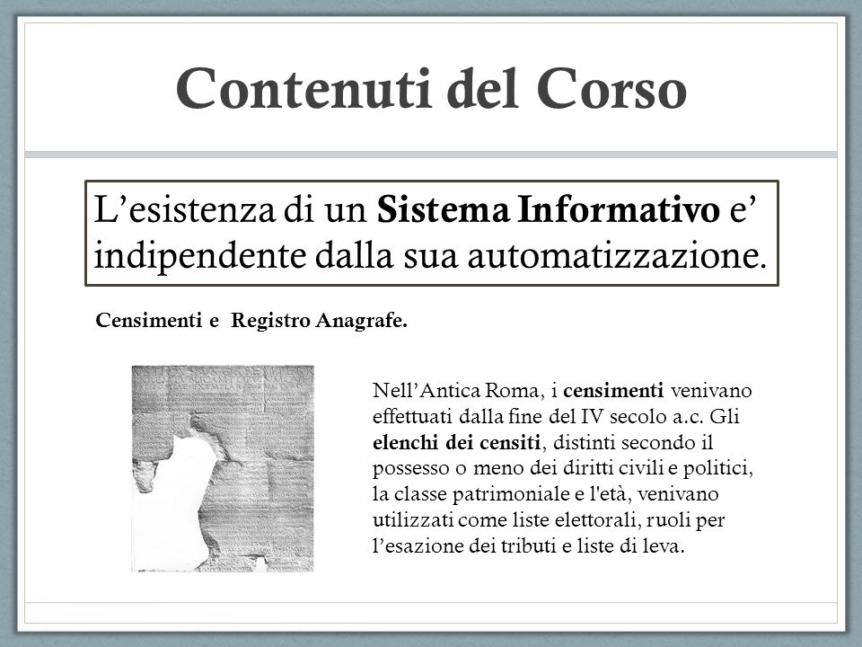 Censimenti e Registro Anagrafe.