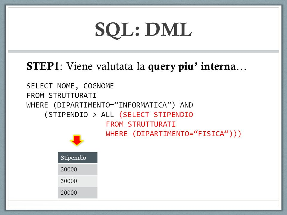 SQL: DML STEP1: Viene valutata la query piu' interna…
