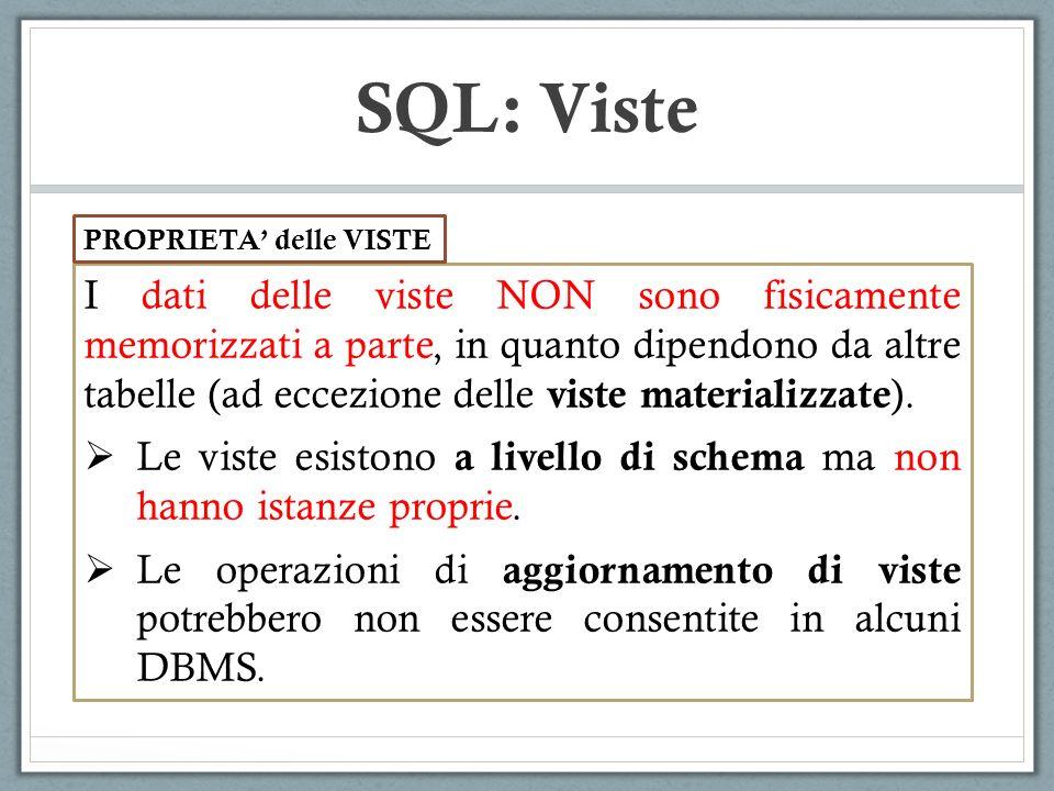 SQL: Viste PROPRIETA' delle VISTE.