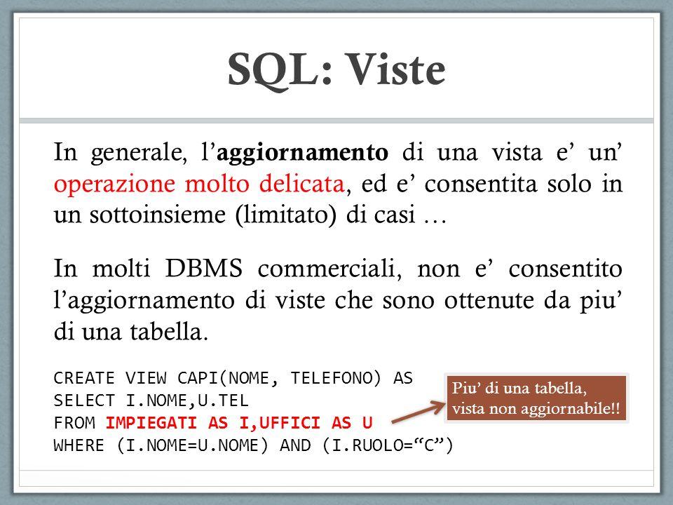 SQL: Viste In generale, l'aggiornamento di una vista e' un' operazione molto delicata, ed e' consentita solo in un sottoinsieme (limitato) di casi …