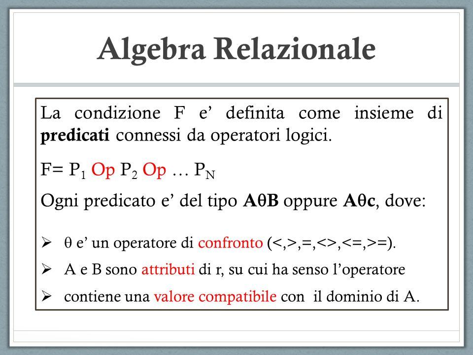 Algebra Relazionale La condizione F e' definita come insieme di predicati connessi da operatori logici.