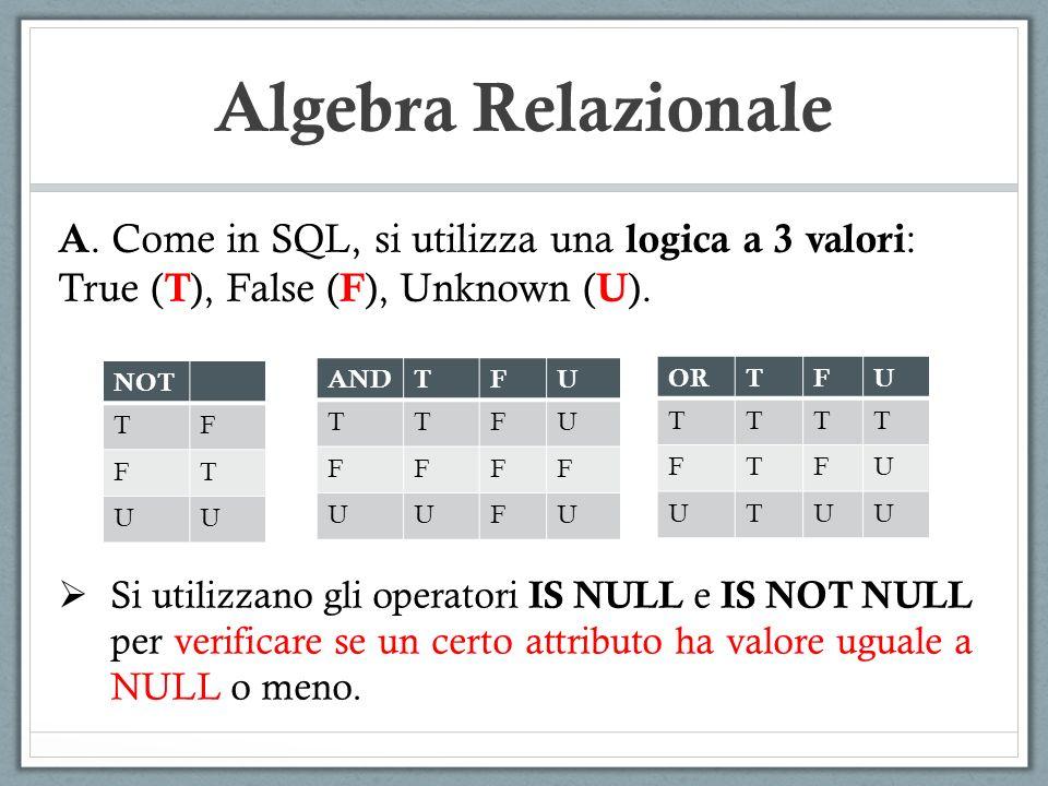 Algebra Relazionale A. Come in SQL, si utilizza una logica a 3 valori: