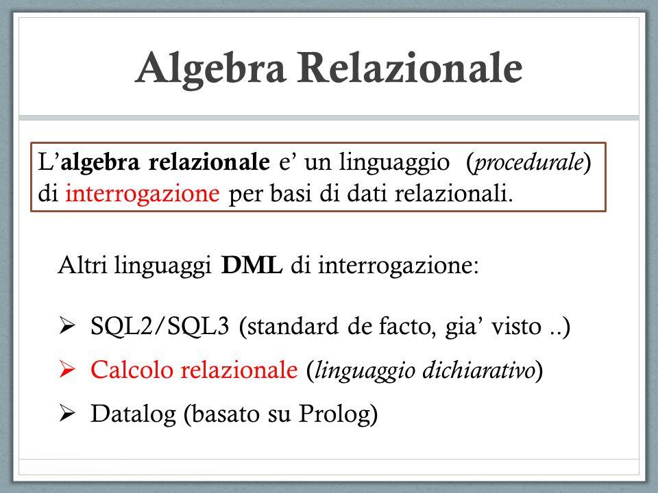 Algebra Relazionale L'algebra relazionale e' un linguaggio (procedurale) di interrogazione per basi di dati relazionali.