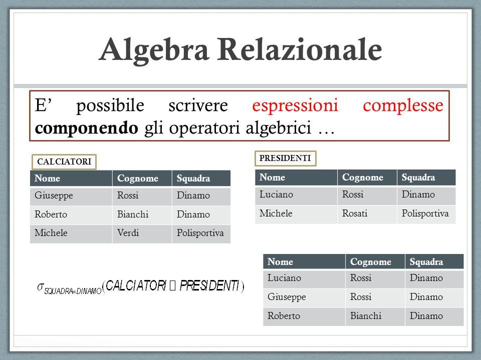 Algebra Relazionale E' possibile scrivere espressioni complesse componendo gli operatori algebrici …