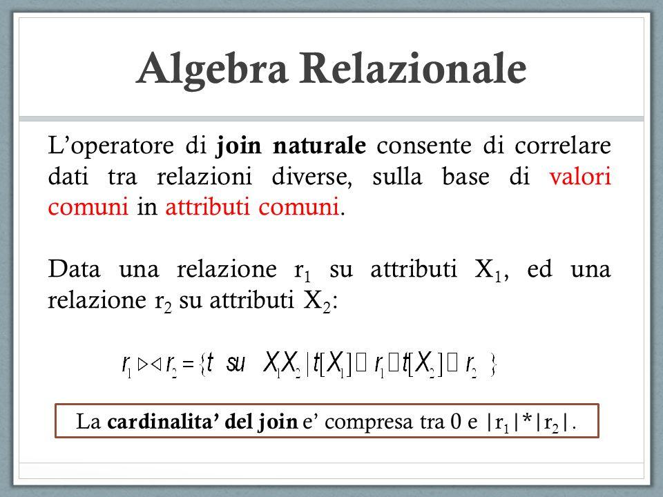 La cardinalita' del join e' compresa tra 0 e |r1|*|r2|.