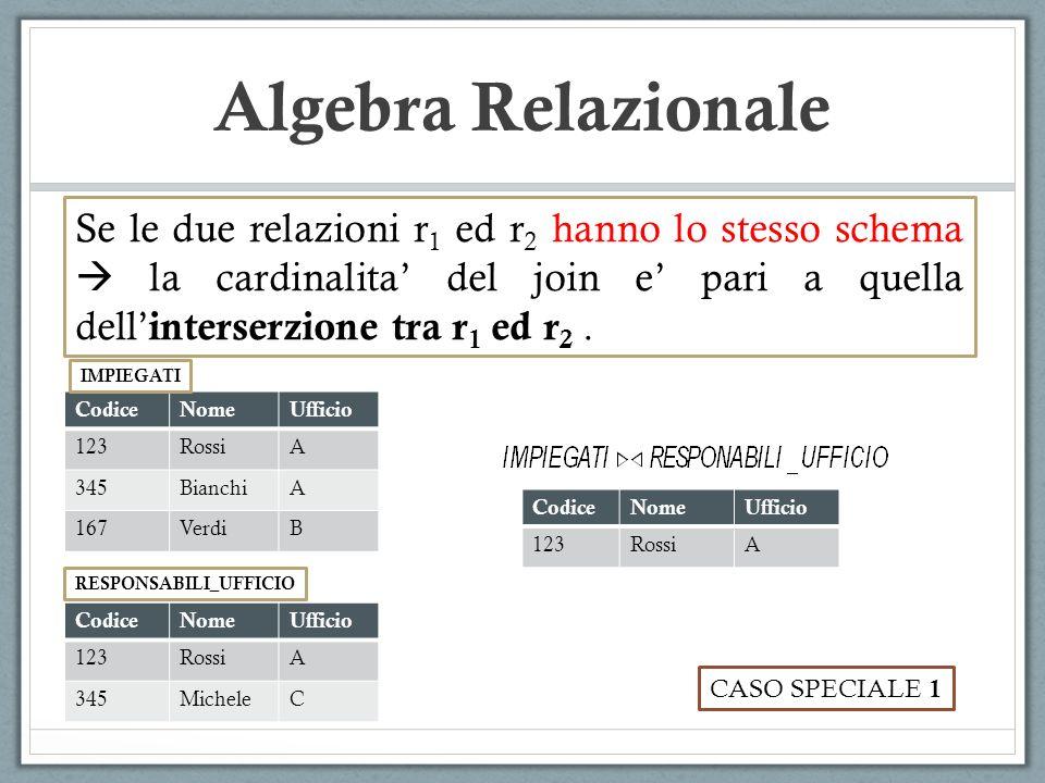 Algebra Relazionale Se le due relazioni r1 ed r2 hanno lo stesso schema  la cardinalita' del join e' pari a quella dell'interserzione tra r1 ed r2 .
