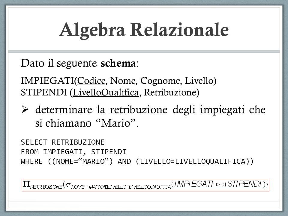 Algebra Relazionale Dato il seguente schema: