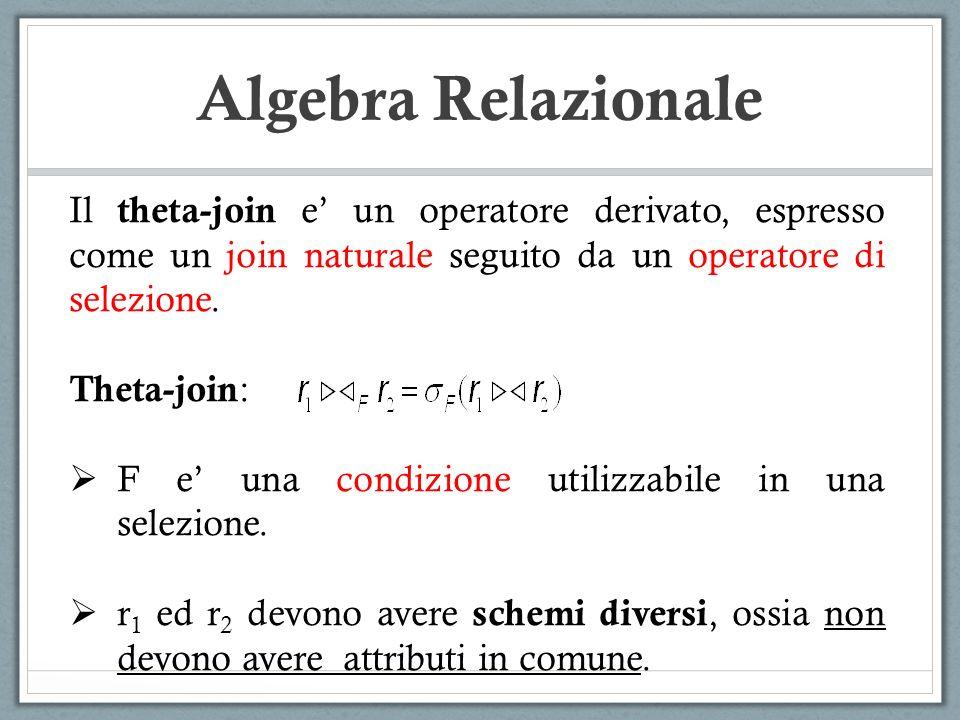 Algebra Relazionale Il theta-join e' un operatore derivato, espresso come un join naturale seguito da un operatore di selezione.