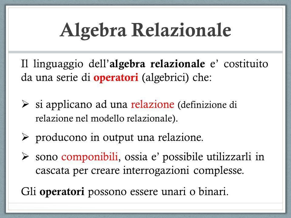 Algebra Relazionale Il linguaggio dell'algebra relazionale e' costituito da una serie di operatori (algebrici) che: