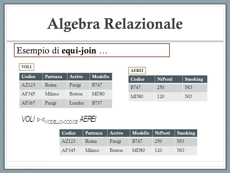 Algebra Relazionale Esempio di equi-join … Codice Partenza Arrivo