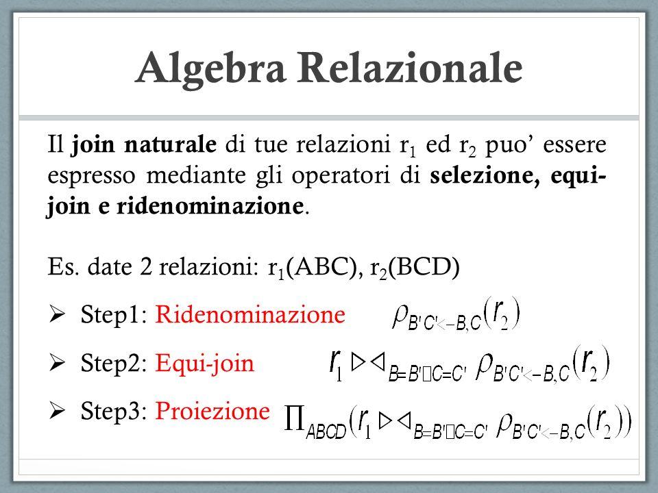 Algebra Relazionale Il join naturale di tue relazioni r1 ed r2 puo' essere espresso mediante gli operatori di selezione, equi-join e ridenominazione.