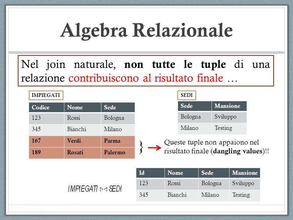Algebra Relazionale Nel join naturale, non tutte le tuple di una relazione contribuiscono al risultato finale …