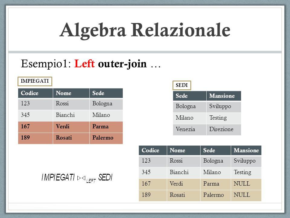 Algebra Relazionale Esempio1: Left outer-join … Codice Nome Sede 123
