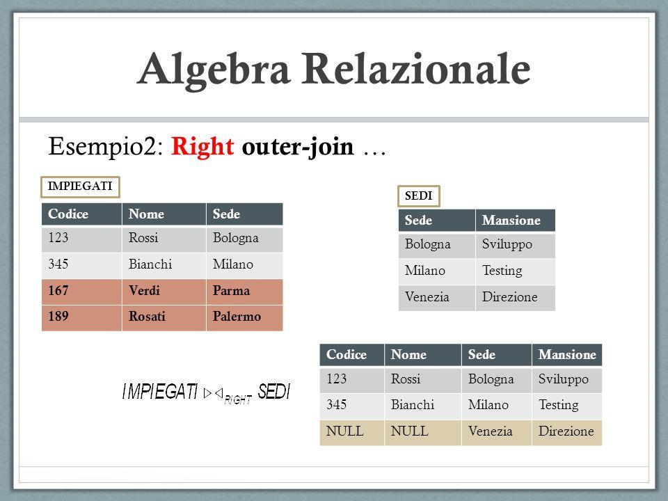 Algebra Relazionale Esempio2: Right outer-join … Codice Nome Sede 123
