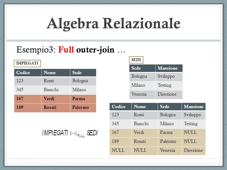 Algebra Relazionale Esempio3: Full outer-join … Sede Mansione Bologna