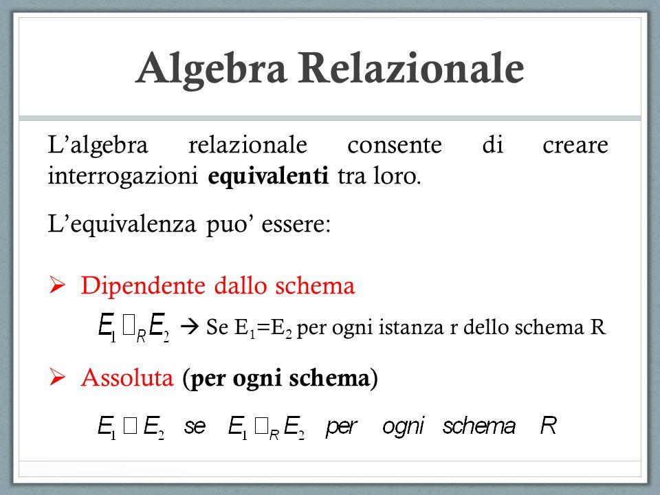 Algebra Relazionale L'algebra relazionale consente di creare interrogazioni equivalenti tra loro. L'equivalenza puo' essere: