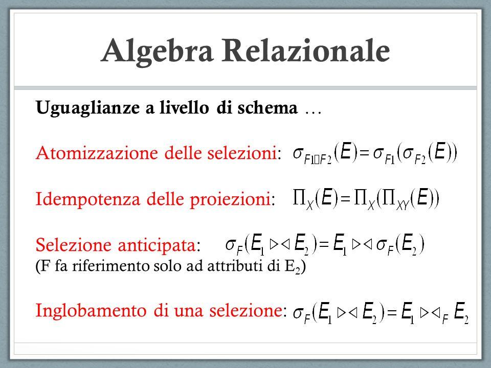 Algebra Relazionale Uguaglianze a livello di schema …