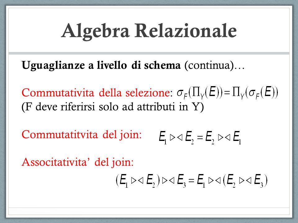 Algebra Relazionale Uguaglianze a livello di schema (continua)…