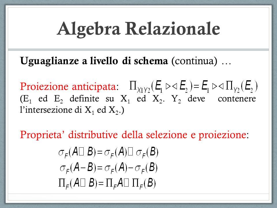 Algebra Relazionale Uguaglianze a livello di schema (continua) …
