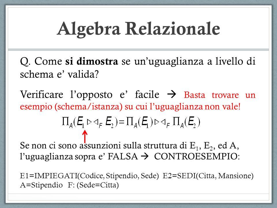 Algebra Relazionale Q. Come si dimostra se un'uguaglianza a livello di schema e' valida