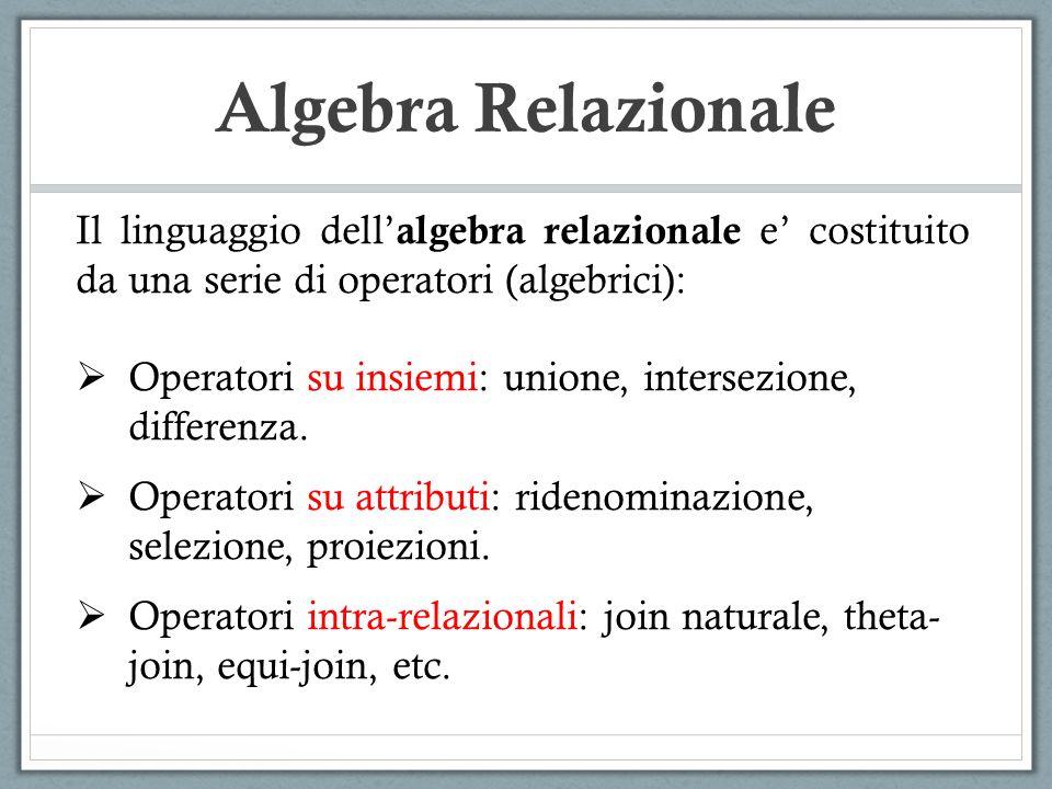 Algebra Relazionale Il linguaggio dell'algebra relazionale e' costituito da una serie di operatori (algebrici):