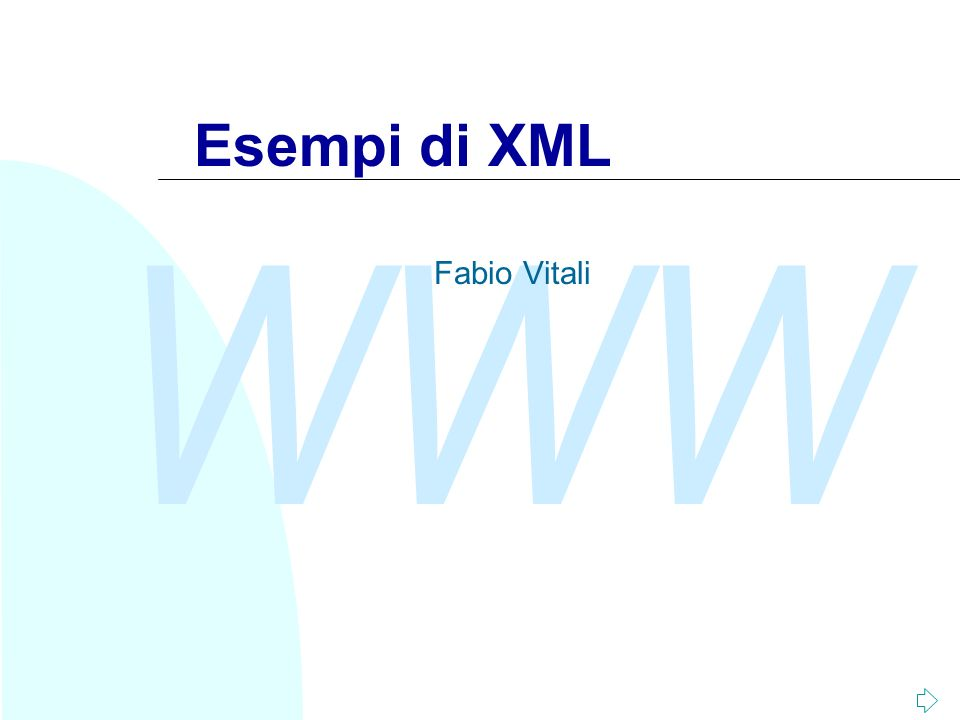 Esempi di XML Fabio Vitali