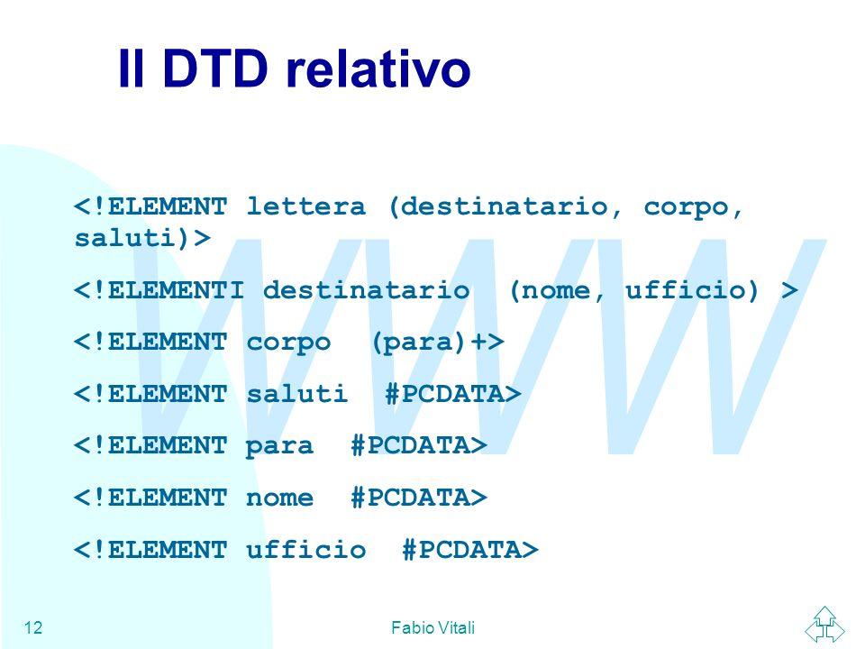 Il DTD relativo <!ELEMENT lettera (destinatario, corpo, saluti)>