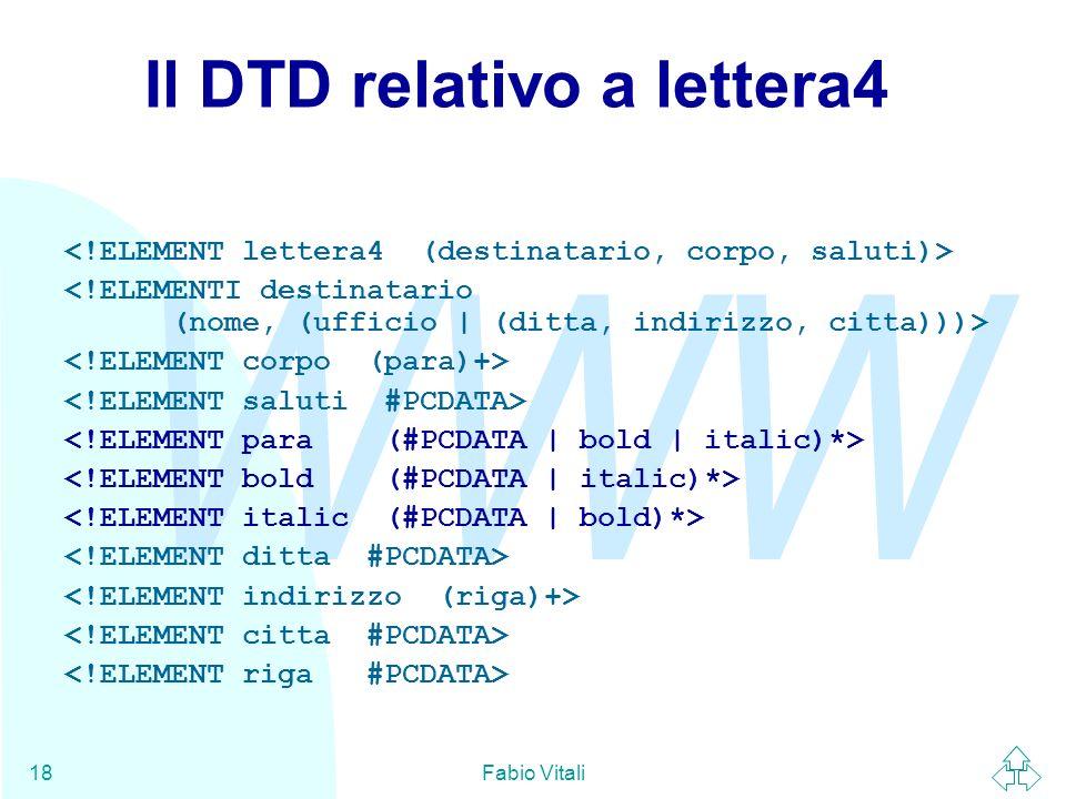 Il DTD relativo a lettera4