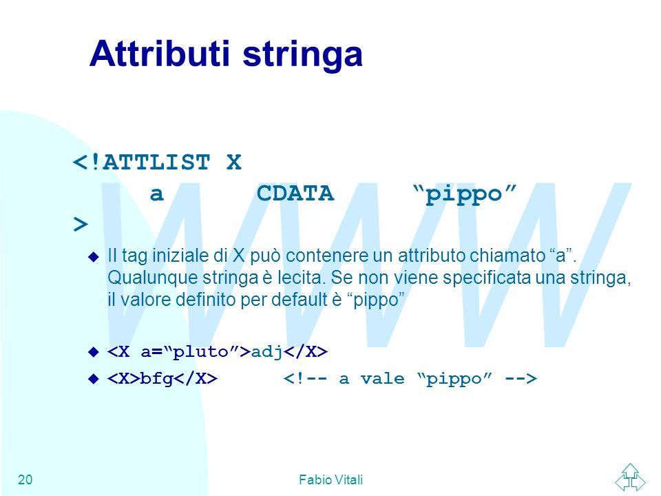 Attributi stringa <!ATTLIST X a CDATA pippo >
