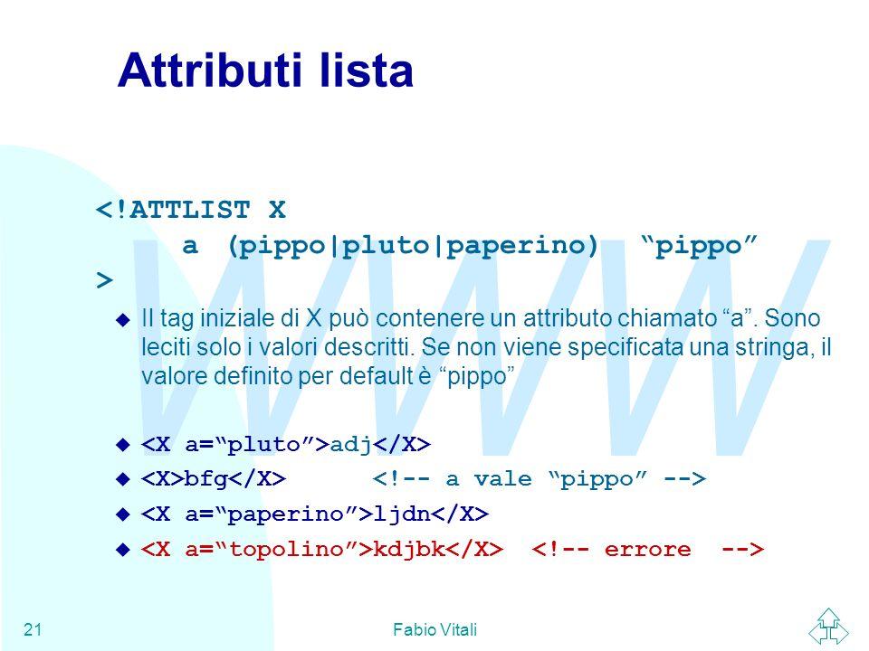 Attributi lista <!ATTLIST X a (pippo|pluto|paperino) pippo >