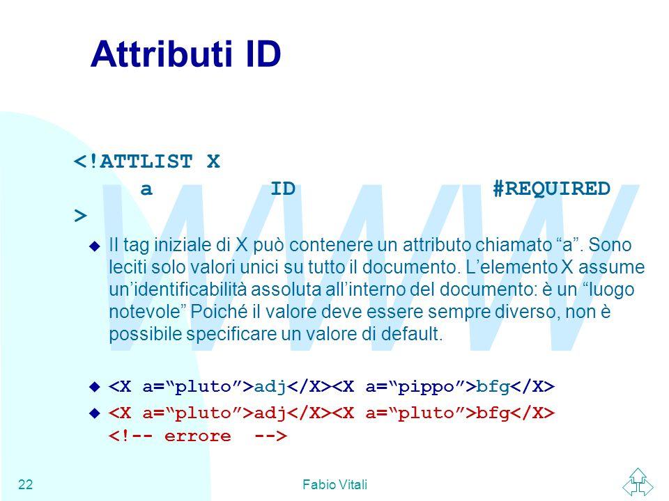 Attributi ID <!ATTLIST X a ID #REQUIRED >