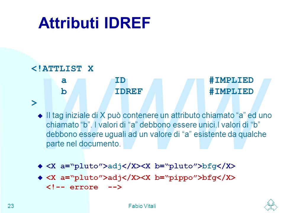 Attributi IDREF <!ATTLIST X a ID #IMPLIED b IDREF #IMPLIED >