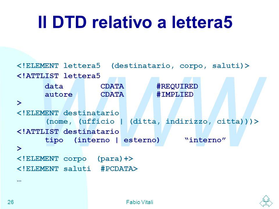 Il DTD relativo a lettera5